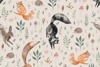 Tapeta z leśnymi zwierzętami