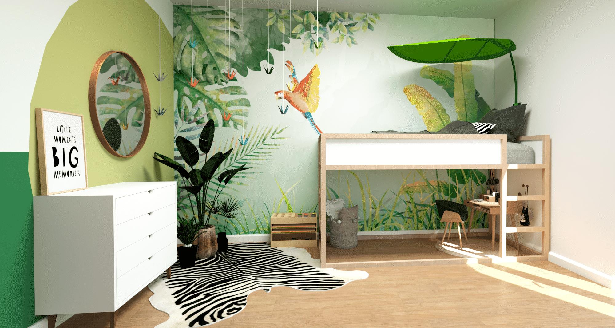 pokój w stylu dżungla