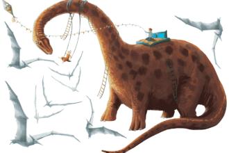 naklejka z dinozaurem - huśtawką