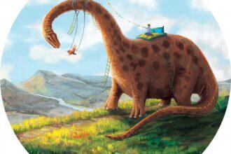 naklejka ścienna w kształcie koła Huśtozaur