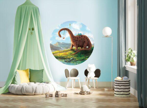 okrągła naklejka - Huśtozaur -wizualizacja