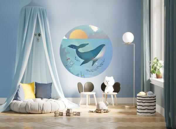 okrągła naklejka - Wieloryb -wizualizacja