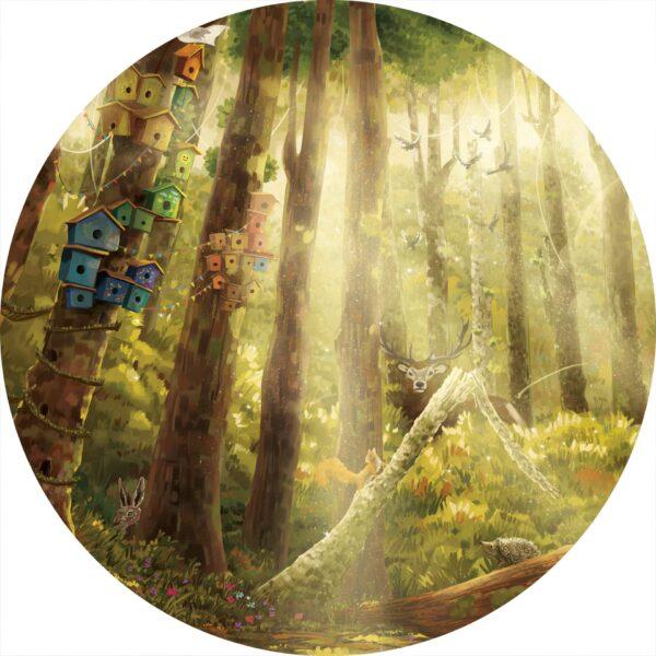 naklejka ścienna w kształcie koła - las