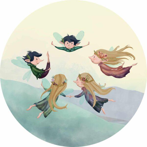 naklejka ścienna w kształcie koła Figle-Migle z wróżkami elfami
